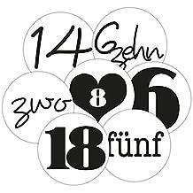 """2 Bögen Adventskalenderzahlen """"Frau Wundervoll"""" – schwarz-weiß -"""