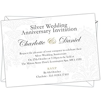 Personalised silver wedding 25th anniversary invitations design personalised silver wedding 25th anniversary invitations design code swa 007 pack of 12 stopboris Image collections