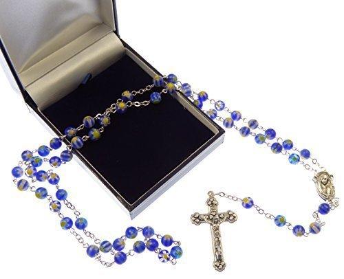 Blu e bianco e giallo floreale bicchiere Cattolica rosari in regalo scatola - Scuro Tono Argento Catena