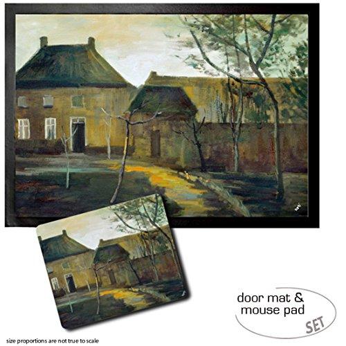 Set: 1 Fußmatte Türmatte (70x50 cm) + 1 Mauspad (23x19 cm) - Vincent Van Gogh, Das Pfarrhaus in Nuenen Bei Mondschein, 1885