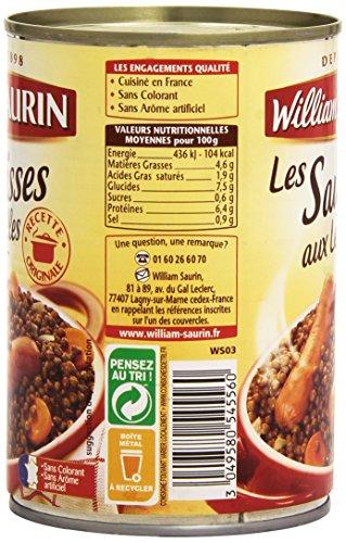 William Saurin Les Saucisses aux Lentilles 420 g