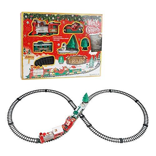 Schildeng Train De Noël Power Track - Enfants Petit Train Piste Jouet Électrique Musique Train De Noël Train Set pour Noël Nouvel an Cadeau