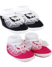 Neska Moda Pack of 2 Baby Infant Soft Black and Pink Booties for Age Group 0 to 12 Months