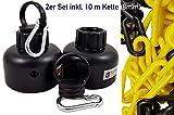 UvV 2 x Flex-Pfosten Absperrketten Kappe mit Öse und Karabiner (+ 10m Kette gelb schwarz)
