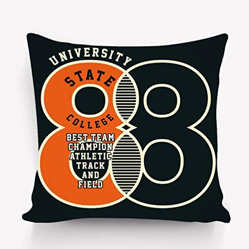 jinhua19 Kissenbezüge Throw Pillow Cushion Cover Graphic University State College Print Decorative Square Accent Pillow Case 18 X 18 inches State University Square