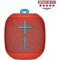 Ultimate Ears Wonderboom Altavoz Portátil Inalámbrico Bluetooth, Sonido Envolvente de 360°, Impermeable, Conexión de 2 Altavoces para Sonido Potente, Batería de 10 h, Rojo