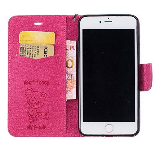 Roreikes Apple iPhone 6S Plus Coque, iPhone 6 Plus Case (5.5 Pouces), Tronçonneuse Ours Conception conception de modèle de motif en relief Folio Cover Wallet Style Book avec fente Stand carte de fonct Pink
