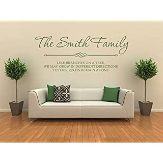 PERSONALISED Family Wall Art & Quote, Wall Sticker, Decal, Modern Transfer Black | Medium 70cm (w) x 28cm (h)