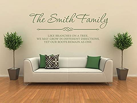 PERSONALISED Family Wall Art & Quote, Wall Sticker, Decal, Modern Transfer Black | Large 100cm (w) x 42cm (h)