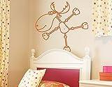 Wandtattoo No.RY4 Tanzender Elch Tiere Figuren Comics Kinderzimmer Weihnachten, Farbe:Creme;Größe:105cm x 141cm