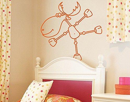 Preisvergleich Produktbild Wandtattoo No.RY4 Tanzender Elch Tiere Figuren Comics Kinderzimmer Weihnachten, Farbe:Gelbgrün;Größe:65cm x 88cm