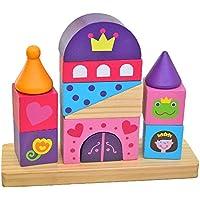 Tooky Toy - Torre Castillo para apilar - Bloques apilables de madera a partir de 18 meses