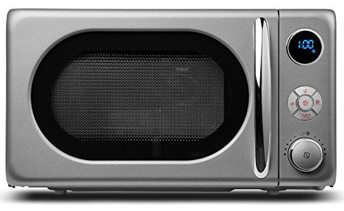 MEDION Mikrowelle MD 18028/800 Watt/Grillfunktion 1.000 Watt/20 L Garraum/8 Automatikprogramme/LED-Display/stilvolles Retro-Design/silber