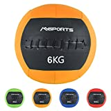 Msports Wall-Ball Premium Gewichtsball 2-10 kg in verschiedenen Farben | Medizinball (6 kg - Orange)