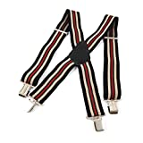 Hosenträger X-Form mit 4 Starken Clips für Herren extra starken 5 cm - farbig