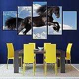 Mddrr Wandkunst Leinwand Gemälde Rahmen Modulare Wohnzimmer Wohnkultur 5 Stücke Blauer Himmel Laufen Schwarz Pferd Bilder Tier Poster Poster