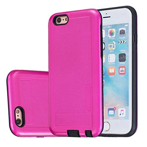 iPhone Case Cover 2 In 1 neue Rüstung Solid Color Dot Muster mattiert Stil Hybrid Dual Layer Rüstung Defender PC Hard zurück Fall Deckung Shockproof Fall Für Apple IPhone 6S 4,7 Zoll ( Color : Black , Rose