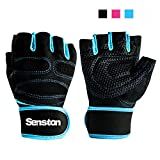Senston Mezze Dita Fitness Guanti di formazione con Wrist Wrap e Grip - Sollevamento pesi Palestra bodybuilding Esercizio tutti gli sport - supporto per il polso - per Uomini Donne - S/M/L