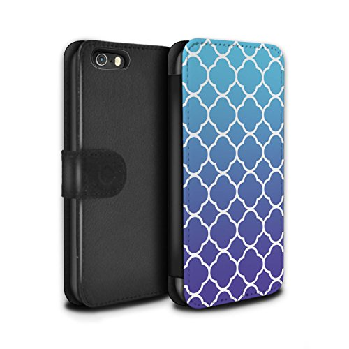 STUFF4 PU-Leder Hülle/Case/Tasche/Cover für Apple iPhone 5/5S / Baumwollfarbstoff Muster / Ombre Mode Kollektion Quatrefoil