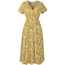 Beladla Vestidos Mujer Casual Verano Largo Falda ImpresióN Cuello En V Delgado ImpresióN Floral Boho Skirt