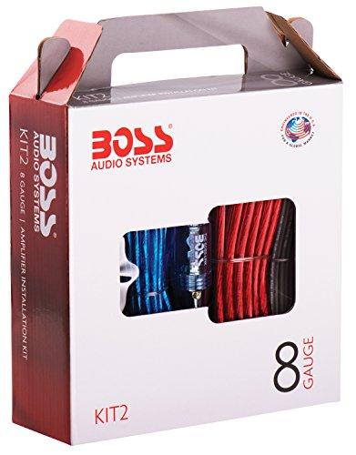 BOSS AUDIO KIT2 8 Gauge/3,27 mm Auto Installations-Set Verstärker Endstufe Kabel Anschlusskabel Cinch Kabel, Mehrfarben