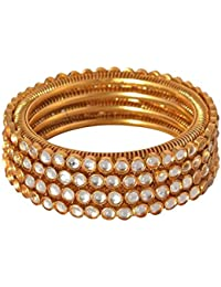 Jewels Galaxy Limited Edition Royal Style Traditional Gold Plated Kundan Bangle Set For Women/Girls - Set Of 4