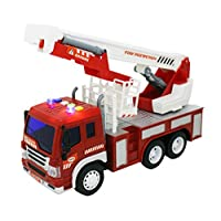 HTUK® Rescue Fire Engine Truck Toy With Lights And Sounds 1:16 Light Up Toy Firefighter Battery Operated Resuce Toy Friction Powered Batteries Included Children Pretend Play