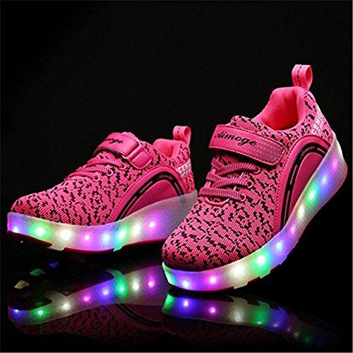 6b93a1d924fff3 ... Wheelies Schuhe mit Rollen Rädern Skateboard Blinkschuhe Outdoor Sport Kinderschuhe  Led Licht Turnschuhe Leuchtend Sneaker Mädchen ...