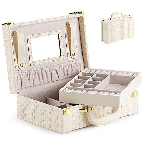 Schmuckkästchen Schmuckkasten Schmuckbox Schmuckschrank Schmuckkiste Schmucklade mit 2-Ebenen PU-Leder Abschließbarer Schmuck-Organizer mit Spiegel herausnehmbare Reise-Box für Ringe (Beige-T02)