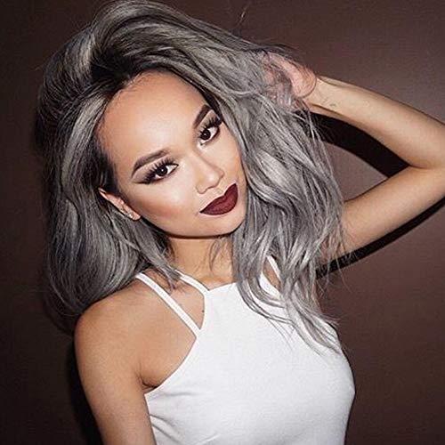 es Haar der Frauen lockert Perücken-graue Steigung-große Wellen-lockiges Haar-Perücken-Kleid-Partei-Perücke Hochtemperatur-Seide 69cm * 240g auf ()
