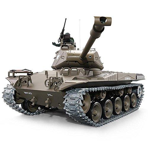 ES-TOYS Panzer Ferngesteuert mit Schussfunktion M41 A3 Walker Bulldog Heng Long 1:16 mit R&S, Metallgetriebe und Metallketten -2,4Ghz V6.0 -PRO