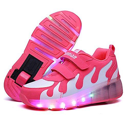 LED Lumières Couleur Chaussure Brillant Roue Clignotant Sport Chaussures Led Coloré Paillettes Roulettes Sneakers Unisexe Fille Garçon Rosa weiß