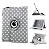 Revesun 360 Rotating Leather Folio Case and Stand with Auto Sleep/Wake Feature +Stylus+Protector for iPad Air 2/ipad 6 (Grey and White Polka Dot)