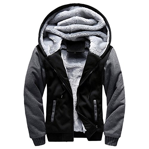 Lucky mall Männer Hoodie Winter Warme Pullover Jacke Fleece Zipper Outwear Mantel, Herren Winter- und Samt-Sportjacke Crewneck Warm-up Jacke