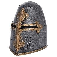 Medieval Knight Helmet Replica for Kids. The Great Helmet, Metallic (Old Iron Effect), Children One Size