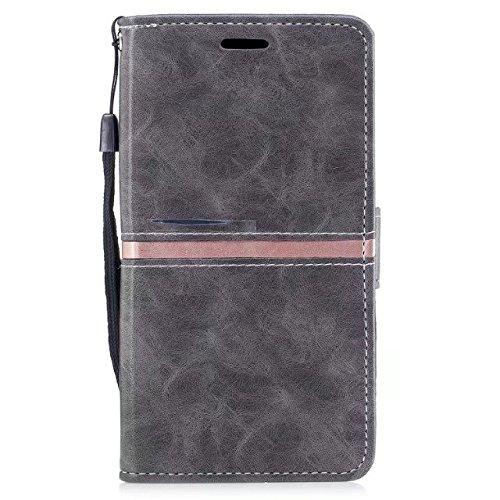 EKINHUI Case Cover Echtes Qualitäts-elegantes PU-Leder-Schlag-Standplatz-Fall-Abdeckung mit Abzuglinie und Karten-Schlitzen für Samsung-Galaxie J730 europäische Ausgabe ( Color : Black ) Gray