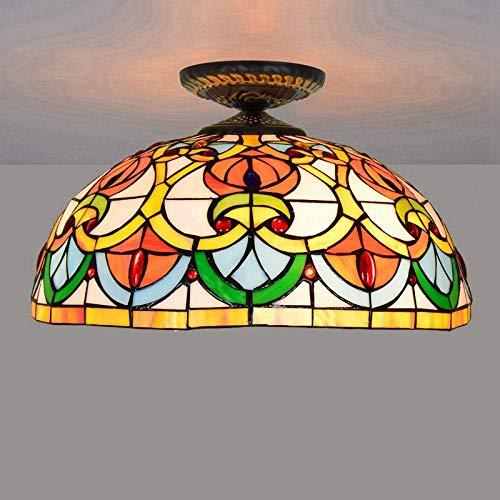 uropäischen Retro-Pfirsich Herz Perlen Tiffany Farbe Glas Restaurant Schlafzimmer Gang Korridor Glas Deckenleuchte - Deckenleuchte ()