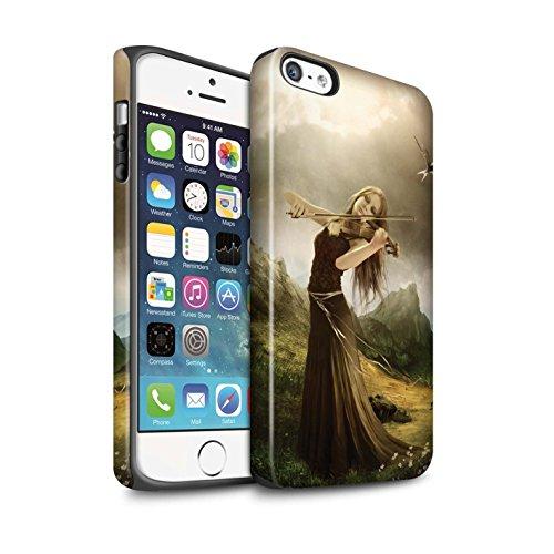 Officiel Elena Dudina Coque / Matte Robuste Antichoc Etui pour Apple iPhone SE / Violoncelle/Nuages Design / Réconfort Musique Collection Chanson de Fleurs
