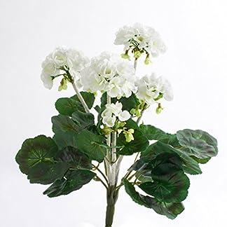 artplants.de Decorativo Geranio MIEKE en Vara, Blanco, 30cm, Ø 25cm – Flor Artificial – Planta sintética