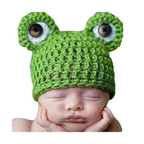 Newin Star Gorro de Ganchillo de Linda Rana,Atrezzo fotografia,Sombrero de bebé Hecha a Mano,Regalo para Bebé recién…
