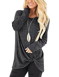 YOINS Donna Maglia Manica Lunga Camicetta Casuale Camicia con Incrociato Frontale Maglietta Asimmetrico T-Shirt Loose Fit Felpa Top