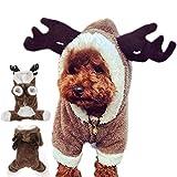 ZAMAC Niedliche Rentier Hirsch Elch Design Hund Weihnachten Kleidung Trikots Haustier Kostüm Welpen Overall Outwear Mantel Bekleidung Hoodie für Teddy, Yorkshire Terrier, Chihuahua, Pomeranian (XXL)