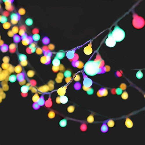 Denknova® 100LED 10M Light String/Palla Forma Stringa Di Luce/Mood Lights/Catene luminose/luce fata, 8 modalità, disegno collegabile, per Natale/Giardini/Balconi /matrimonio / partito / decorazione esterna/ interno (multicolore)