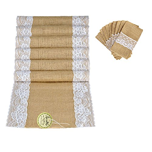 AerWo 1Pcs Hessian Table Runner Jute Table Runner and 10Piece Jute Burlap Lace Tableware Pouch Packaging Fork & Knife Burlap Holder Cutlery Pocket Party Wedding Decor