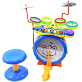 PowerTRC® Junior DJ Drum Band 2-in-1 Children's Musical Instrument Toy Drum & Keyboard Play Set, 7 Key Piano With...