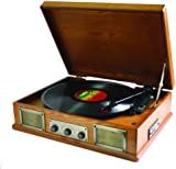 Steepletone USB Norwich Retro Record Player with Radio and MP3 Playback - Lightwood
