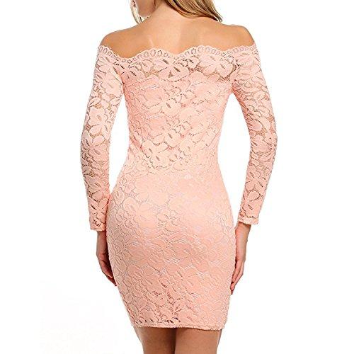 Desshok Damen Schulterfreies Kurzes Spitzen Kleid Langarm Cocktailkleid Bodycon Schlank Minikleid Partykleid 06Rosa