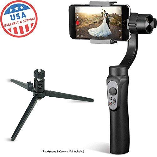 Evo Shift 3Axis Handheld Gimbal für iPhone & Android Smartphones | Schwarz | 1Jahr Uns Garantie | Paket enthält: Evo Shift Gimbal + Stativ Ständer
