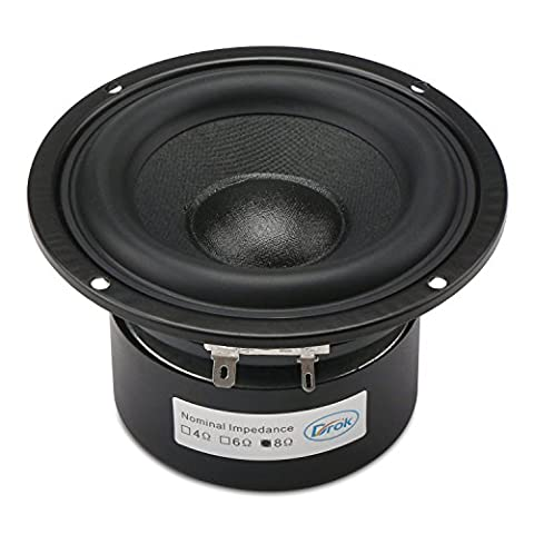 DROK® 40W HIFI Subwoofer Speakers with 87dB High Sensitivity, 8Ω 4-inch Anti-magnetic Loudspeaker with Super Low Bass, Circular Home Woofer Stereo Speakers Super Large Rubber