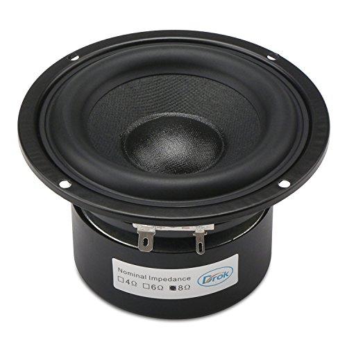 DROK® 40W HIFI Subwoofer-Lautsprecher mit 87 dB Hohe Empfindlichkeit, 8Ω 4-Zoll-Anti-magnetischen Lautsprecher mit Super-Low-Bass, Weiß Rund Start Woofer Stereo-Lautsprecher Super großer Gummisicke